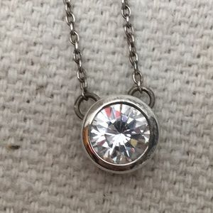 Jewelry - Sterling silver necklace with Rhinestone solitaire